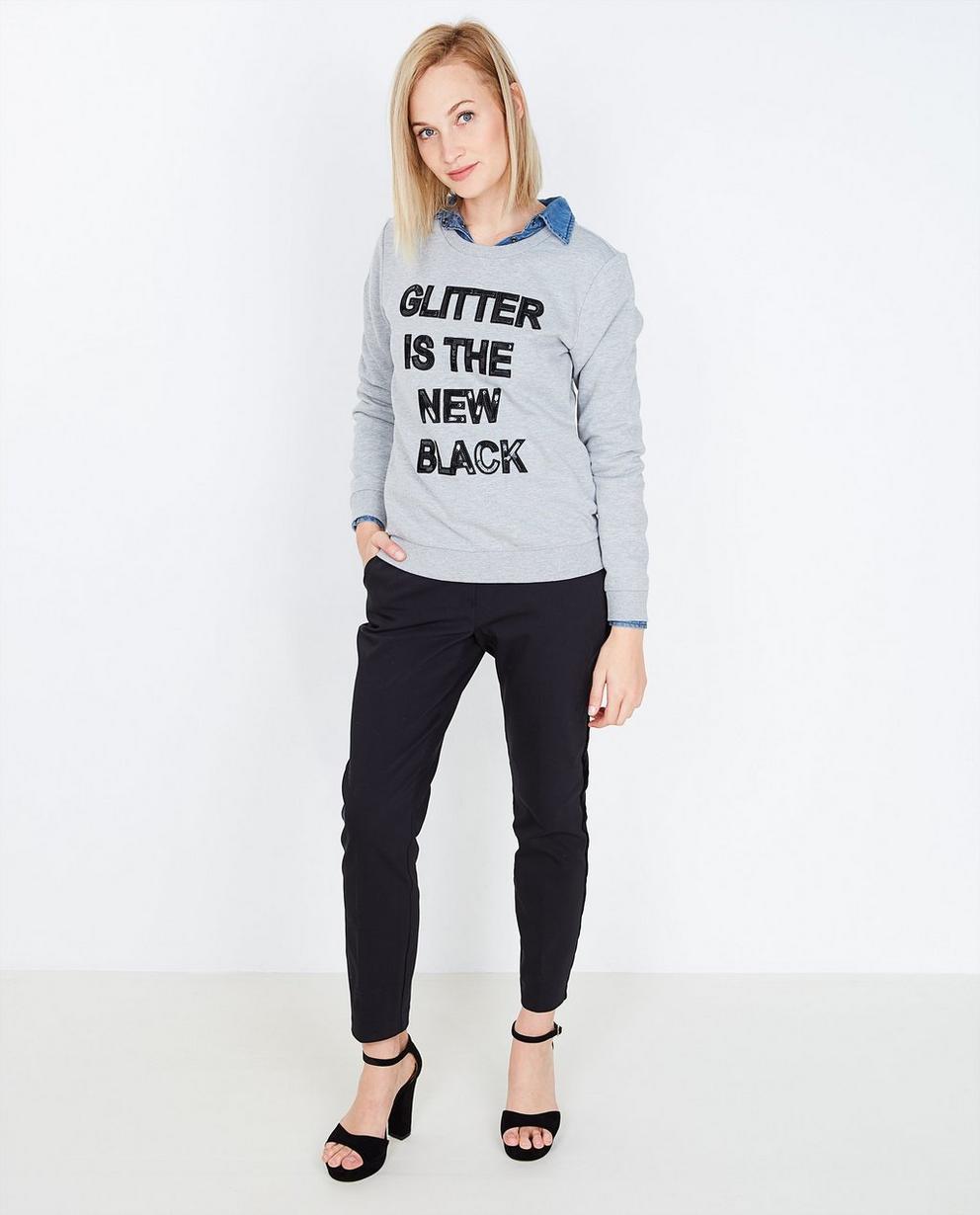 Sweater met pailletten - in grijs - JBC